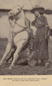 Miss Bessie Herberg and Happy, 101 Ranch Real Wild West Show, 1900-10s