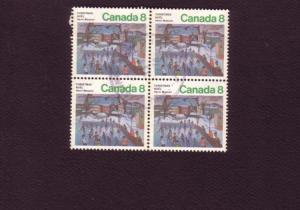 Canada, Used Block of Four, Christmas, 8 Cent, Scott #651,