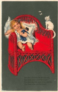 LP24 Cat Baby Postcard Publisher PFB  Doll Wicker chair