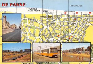 Belgium De Panne Map multiviews Eglise Church Cars Voitures Train Beach