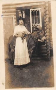 F36/ Jackson Ohio RPPC Postcard c1915 Pennant Donkey Lesta Harper 14