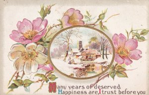 Pink and White Flowers, Winter Scene, Well Wishes, Gold detail, PU-1912