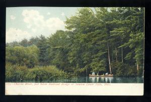 Newton Lower Falls, Massachusetts/MA/Mass Postcard, Charles River Near RR Bridge