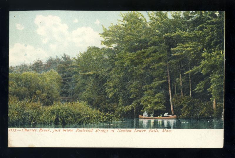 Newton Lower Falls, Massachusetts/MA/Mass Postcard, Charles River Near RR Bridge