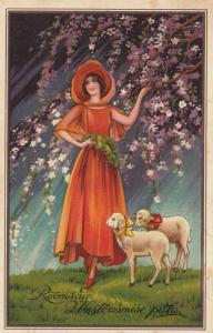 ART DECO ; Female wearing red A-line dress with cape, sheep, PU-1939