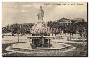 Nimes Old Postcard The Pradier fountain instead of the plaza