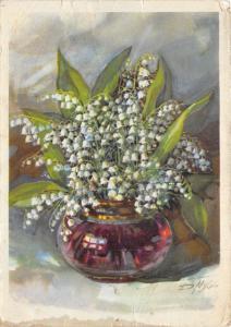 B64577 fleurs flowers valee lilies painting art postcard