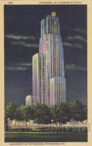 Cathedral Of Learning At Night, University Of Pittsburgh, Pennsylvania, 1930-...