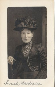 Antique Real Photo Postcard RPPC Victorian Woman in Black Named Sarah Andersen