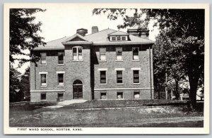 Horton Kansas~First Ward School~Chimney w/Metal Topper~1917 B&W Postcard