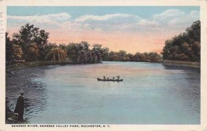Genesee Valley Park, Rochester, New York - Canoe on Genesee River - pm 1917 - WB