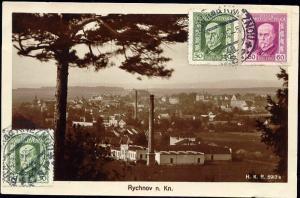 czech, RYCHNOV nad Kněžnou, Partial View (1926) RPPC