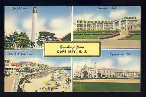 Greetings From Cape May, New Jersey/NJ Postcard, Light House/Boardwalk/Beach