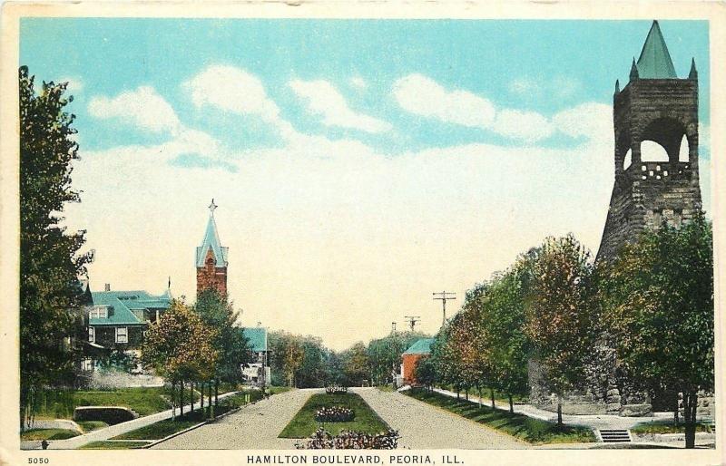 Peoria IL Church Steeple & Tower Among Homes on Hamilton Boulevard~1920 Postcard