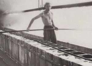 Lumpman + Rake Stoking Drawing Salt Northwich Museum Banner Industry Postcard