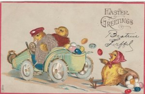 EASTER, 00-10s; Chicks in automobile, one falls out of back with basket of eggs