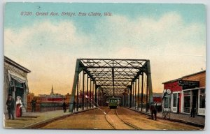 Eau Claire WI~Grand Avenue Bridge~Wm H Heidmann Practical Plumber~Trolley~c1910
