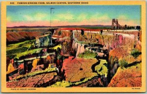 Vintage Southern Idaho Postcard Famous Sinking Farm, Salmon Canyon Linen 1948