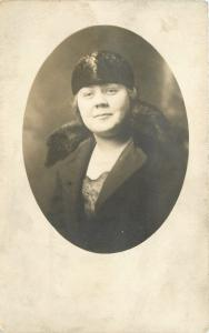 Handsome Lady In A Black Russian Fashion Hat~Real Photo Postcard c1920
