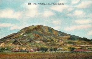 El Paso Texas~Mt Franklin~Buildings Below~Switchback Roads~1934 Linen Postcard