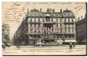 Old Postcard Lyon Place and Fountain of the Jacobins
