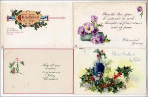 4 - Old Cards Mixed Lot (1 New Year, 3 Christmas)