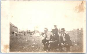 Vintage RPPC Real Photo Postcard FARM SCENE3 Men Sitting on Small Wheelbarrow