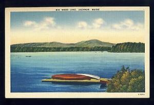 Beautiful Jackman Maine/ME Postcard, Big Wood Lake, Canoes