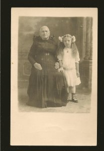 Vintage Portrait Gramma & Grandchild Schmidt Studio Real Photo Postcard Unposted
