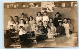 Elementary Classroom Class Students Antique Desks Vintage Photo Postcard D08