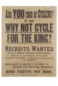 Cycling Cycle Recruitment Bicycle South Midlands WW1 Military Poster Postcard