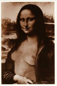 Mona Lisa Nude Topless Altered Art by Alfred Gescheidt Postcard