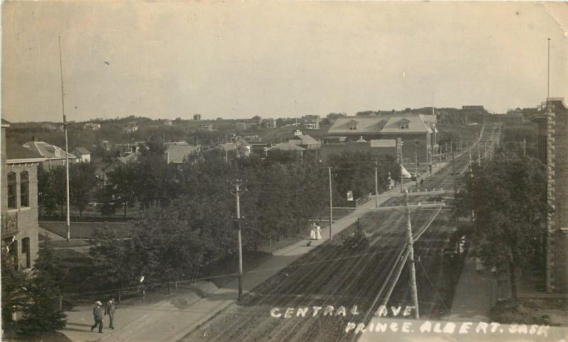Prince Albert SK School? Drug Store on Central Ave Real Photo Postcard 1909