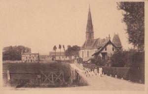 Saint Aubin Church L'Eglise Et La Manoir French Antique Postcard