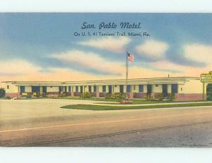 Unused Linen SAN PABLO MOTEL ON TAMIAMI TRAIL Miami Florida FL M5998