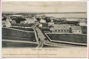 Block Island RI Harbor Village Birdseye View Postcard
