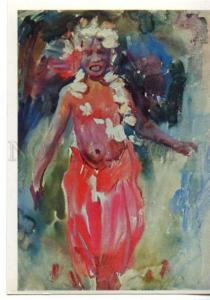 153518 OCEANIA Polynesia Samoa Dancing Girl by Plakhova OLD