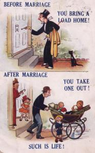 Before & After Marriage Pram Children Married Comic Humour Postcard