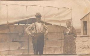 Republican City Nebraska Old Man and Woman Real Photo Antique Postcard J40276