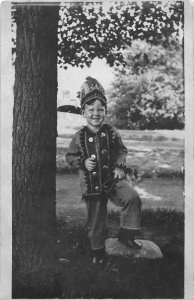G21/ Native American Indian RPPC Postcard c1910 Child Costume Headdress 9