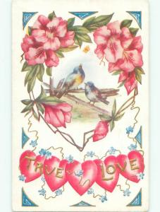Pre-Linen valentine BIRDS ON FENCE AND TRUE LOVE ON HEARTS k9562