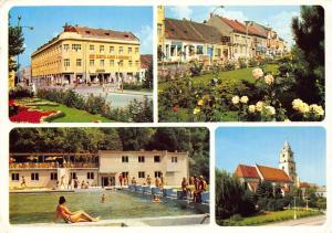 Czech R. Hlohovec Hotel Swimming Pool Church Street Shops Postcard