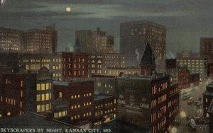 KANSAS CITY , Missouri, 1900-10s ; Skyscrapers by night