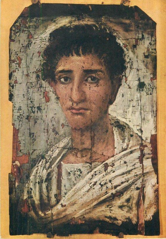 Postcard Egyptian art Hawara painting young man portrait