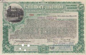 Baltimore & Ohio Railroad Company, 100 Shares Stock Trust Certificate 7562, 1900