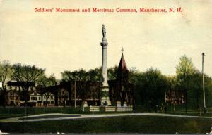 New Hampshire Manchester Soldiers' Monument and Merrimac Common 1911