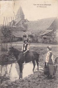 LA VIE AUX CHAMPS, France, 1900-1910's; A L'Abreuvoir