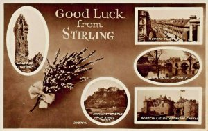 STIRLING SCOTLAND~GOOD LUCK-MULTI IMAGE~1950s PHOTO POSTCARD