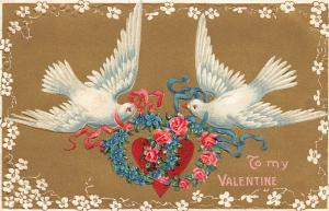 Valentine~White Doves Wrap Pink Blue Ribbons~Roses~Forget-Me-Nots~Hear~Gold Back