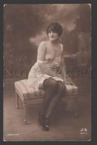 113900 NUDE Woman BELLE in Nighty Vintage PHOTO JA #74